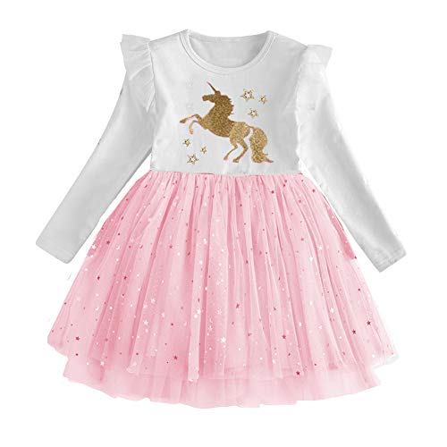 DXTON Toddler Summer Casual Cotton Flower Short Sleeve Girl Dresses