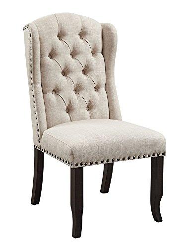 - Furniture of America FA-CM3324BK-SC-2PK Wingback Chair, Antique Black,