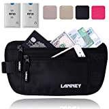 Travel Money Belt Blocking Wallet For Credit Card & Passport Holder With 2pcs RFID Sleeves (Black)