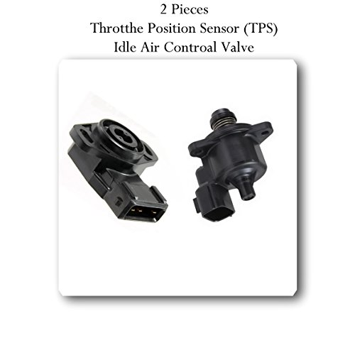 (2 Pc) THROTTLE POSITION SENSOR MD628077 & IDLE AIR CONTROL VALVE MD628318 Fits: L4-2.4 CHRYSLER SEBRING DODGE STRATUS 2001-2005 MITSUBISHI ECLIPSE 2000-2005