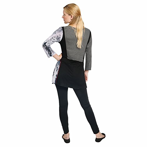 Women's Tunic Top - City Streets Black White Shirt - Dip Hem 3/4 Sleeve - 1X