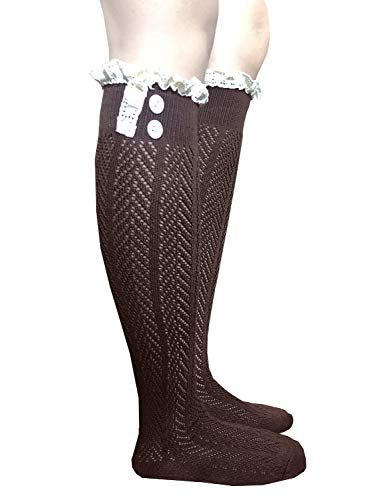 2 Pairs Premium Quality Button Boot Socks with Lace Trim Boutique Socks Dark Brown