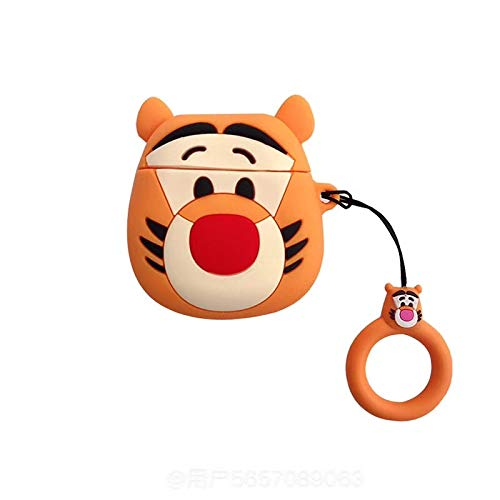 Ultra Thick Soft Silicone Winnie The Pooh Tigger Case Finger Loop for Apple Airpods 1 2 Orange Tiger Protector Walt Disney Disneyland 3D Cartoon Cute Lovely Kawaii Fun Girls Teens - Tigger Walt Disney