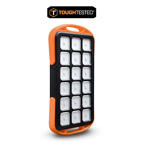 6000mAh Portable Solar Camping Lantern and Charger - Outdoor Rechargeable 18 LED Camping Lamp Light - Handheld Flashlight with USB - Camping Gear for Hiking/Fishing/Emergencies/Power Outages - Black by ToughTested