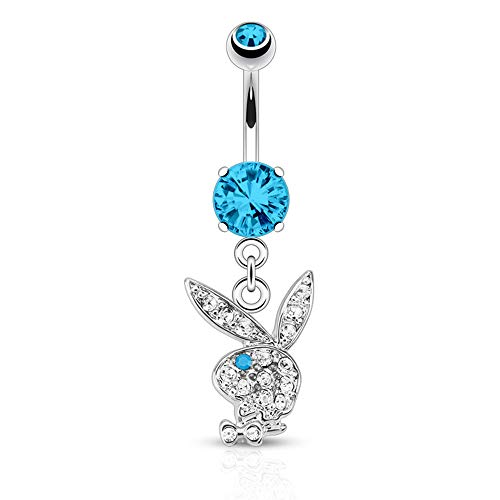 316L 14G Surgical Steel Playboy Dangle Belly Button Ring Mixed Colors 3/8