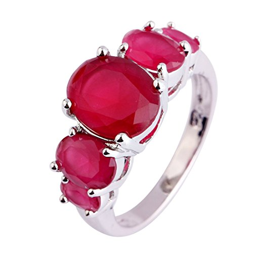 Psiroy Women's 925 Sterling Silver 5cttw Ruby Spinel Filled Ring
