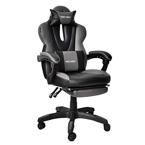 Video Gaming Office Chair Computer Desk Chair Racing Style High Back Chair Executive and Ergonomic Style Swivel Chair with Headrest and Lumbar Support Grey