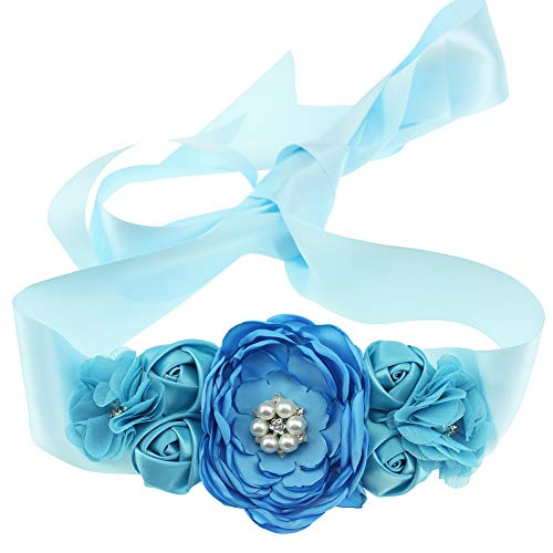 Maternity Pregnancy Flower Sash Wedding Bridal Belt Rhinestone Feather Sash Baby Shower (Blue)