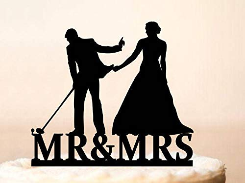Wedding Cake Topper,Golf Wedding Cake Topper,Bride Pulling Groom,Cake