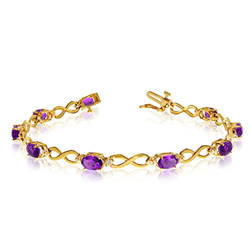 Jewels By Lux 14K Yellow Gold Oval Amethyst and Diamond Bracelet