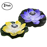 HOMEJU Solar Lights Solar Floating Lotus Flowers Led Waterproof Solar Powered Light Outdoor Decorative Pool Pond Garden