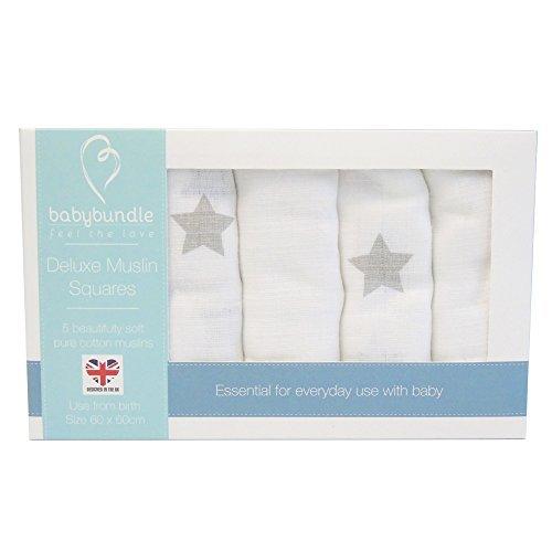 MuslinZ 6pk Baby Muslin Square Burp Cloth Mint Star Mix 100/% Cotton 70x70cm