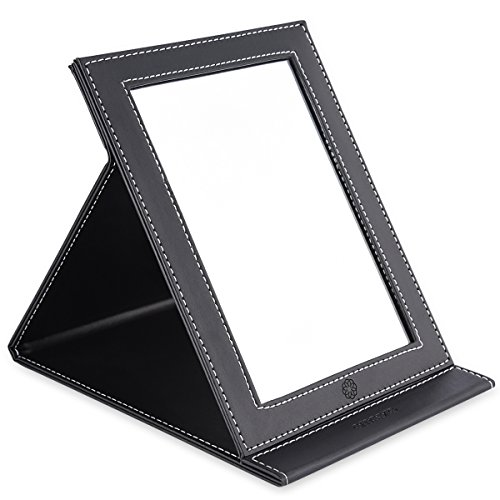 Black Leather Mirror - amoore Makeup Mirror Vanity Folding Tabletop Mirror with PU Leather Cushioned Cover (Large, Black)