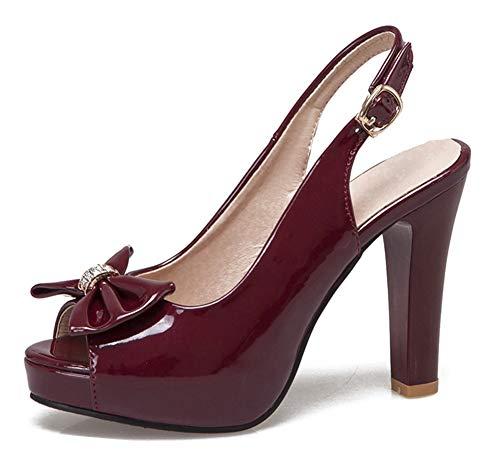 Aisun Women's Elegant Burnished Peep Toe Buckle Chunky High Heel Dressy Platform Slingback Sandals with Bows (Wine Red, 6 M US)