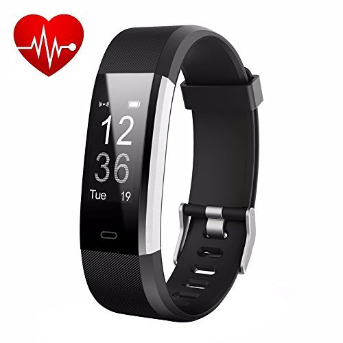 Letufit Plus Fitness Tracker + Heart Rate Monitor,IP67 Waterproof Smart Wristband Pedometer Watch Android iOS (Black)