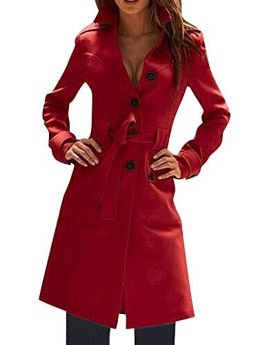 avec Ceinture Coat Trench Femme Quge Chaud Veste Elgant Rouge Manteau wTxfFYnRq