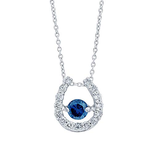 Precious Stars Jewelry Platinum and Silver Horse Shoe Pendant with 0.22 carats Blue Diamond Center 0.31 carats Natural White Diamonds