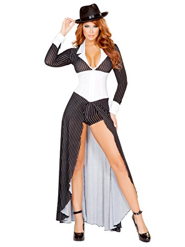 Mafia Lady Costume (2pc Mafia Mama Costume, Black/White, Women Small)