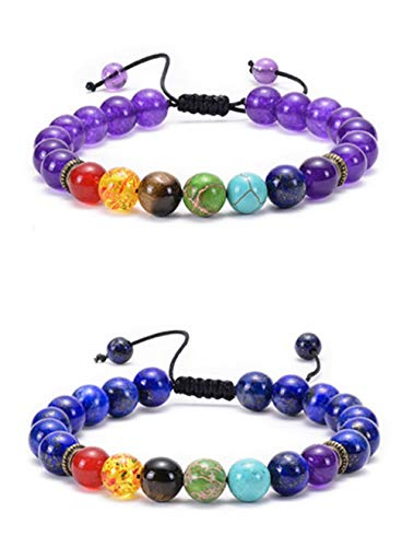 JewelBeauty 7 Chakras Bead Adjustable Bracelets 8mm Natural Lava Rock Stones Beads Bracelets Stress Relief Yoga Beads Aromatherapy Essential Oil Diffuser Bracelets Anxiety Bracelet (2 pcs #4)