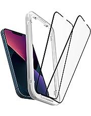 Spigen AlignMaster Skärmskydd kompatibel med iPhone 13, iPhone 13 Pro, 2 Stycken, met sjabloon voor installatie, Full Täckning, kristallklart, Case friendly, 9H härdat Glas