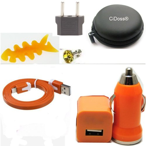 CiDoss Orange 7 in 1 6Feet 2M Extra Long Extended USB Data Cable Cord 8 Pin to USB Charging Charger Cord Cable + Wall charger + Car charger + Cable Hard Case/Bag + Fish Bone Cord Winder Wrap +EU adapter + Headset Rhinestone dust plug Kit fits Compatible with iPhone 5 5C 5S iPod Touch 5 iPad 4 iPad Mini Nano Latest Model (iOS7 Supported)