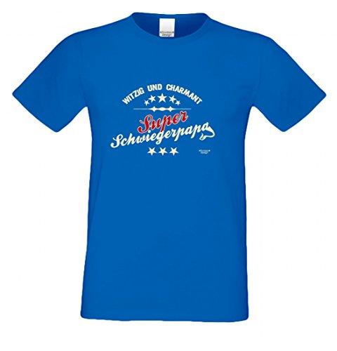 T-Shirt als Geschenk für den Vater - Witzig und Charmant - Ein Danke für den Super Schwiegerpapa mit Humor zum Vatertag, Größe L Farbe 06-Royalblau