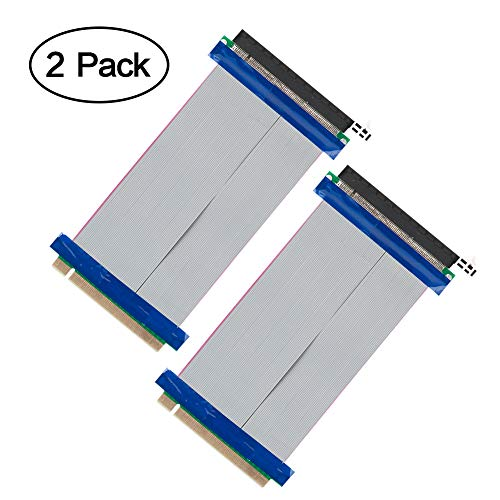 Vandesail PCI Express 16x Flexible Cable, 2Pack 15cm PCI Express 16x Flexible Cable Riser Card Extension Port Adapter (2 Pack, PCI-E Express Cable Card 15cm)