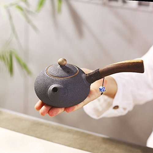 SAIBANG Chinese TraditionalFull Handmade Ceramic Ru Teapot, Porcelain Kungfu Tea Pot with Long Wooden Handle – 180ml/ 6oz