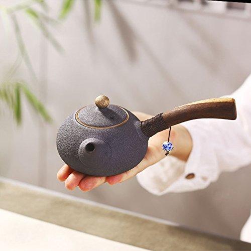SAIBANG Chinese TraditionalFull Handmade Ceramic Ru Teapot, Porcelain Kungfu Tea Pot with Long Wooden Handle – 180ml/ 6oz