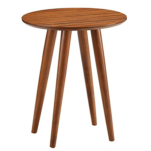 Zebra Veneer Round Side Table in Honey Oak