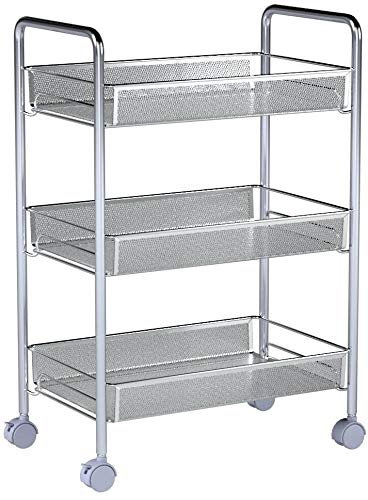 Homfa 3-Tier Mesh Wire Rolling Cart Multifunction Utility Cart Kitchen Storage Cart on Wheels, Steel Wire Basket Shelving Trolley,Easy Moving,Silver by Homfa