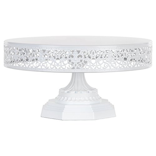 Amalfi Decor 12-Inch Metal Cake Stand, Round Steel Display Pedestal for Wedding Events Birthday Party Dessert Cupcake Plate (White) ()