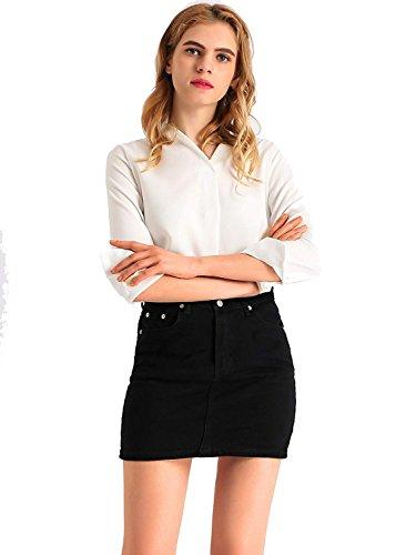 Haute Denim Filles Au Taille Femmes Jeans Jupes Genou Noir Mini AMORETU Longueur Dessus Jupe Sexy CBqnX4wT