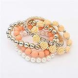 Qvwanle Sweet Multi-Layered Rose Flower Round Pearl Shining Crystal Handmade Elastic Beaded Bracelet PK