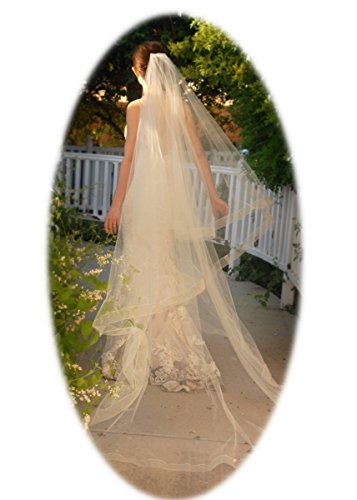 ASA Bridal Cathedral Long Drop Veil for Bridal with Sheer Organza Ribbon (Gold)