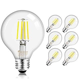 Mastery Mart Dimmable Vintage LED Globe Light Bulb, G25 Glass Edison Style, 5.5W (60 Watt Equivalent), 5000K Daylight White, E26 Filament Bulb, Bathroom& Vanity Mirror, UL, Energy Star, 6 Pack