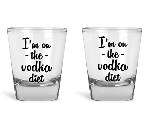 Vodka Shot Glass - I'm On The Vodka Diet Shot Glass Set | Funny Party Shot Glasses | 2 Pack 1.75 Oz Clear Alcohol Drinking Shot Glasses | Great Shot Glass Gift for Party's by Hot Ass Tees