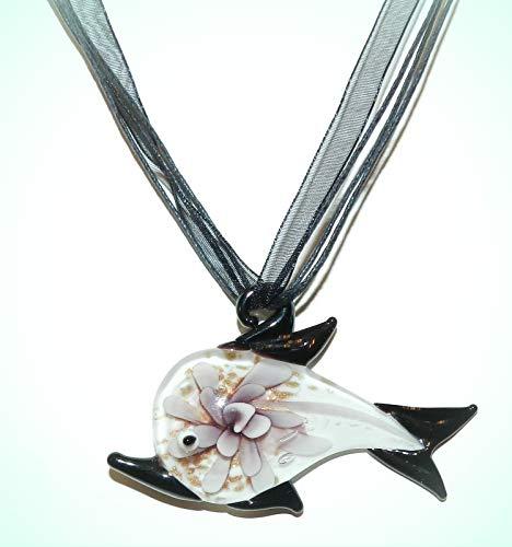 Black & White Dolphin w Purple Flower Lampwork Glass Pendant Cord Necklace For Women