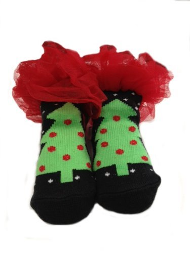 baby christmas socks black christmas tree with chiffon ruffles