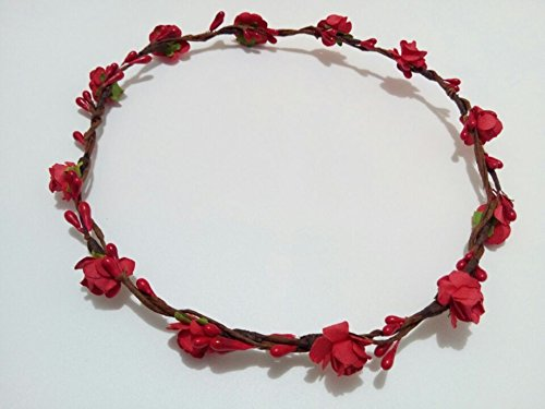 Hippy DIY Handmade Crafts Mini Paper Plum Flowers Artificial Berry Crown Floral Headband Flower Girl Hairband Theme Wedding Hair Pieces Bridal Headwear for Women Hippies Teens Toddler - Theme Wedding Flowers