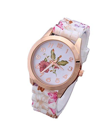 Pink Flower Girl Watch (Women Girl Silicone Printed Flower Watch, Causal Quartz Wrist Watches (Pink))