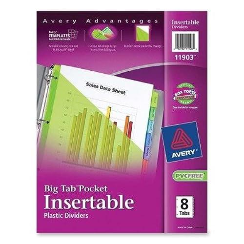 (3 Pack Value Bundle) AVE11903 Big Tab Plastic Dividers, Slash Pocket, 8-Tab, Letter, Assorted