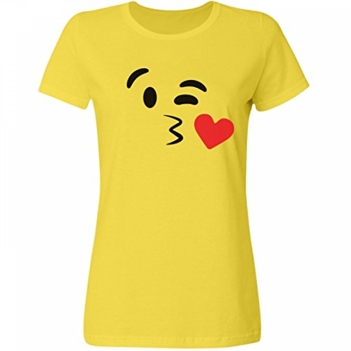 [Kissy Face Emoji Costume Right: Misses Relaxed Fit Fruit of the Loom Tee] (Heavyweights Halloween Costume)