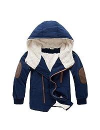 3-9 Years Boys Thick Jackets Hooded Fleece Coat Zipper Outerwear Cotton Parka Warm Winter Clothing