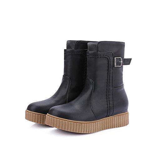 On Heels Solid Toe Black Women's Round Pull AgooLar Low Boots PU SwIx8q