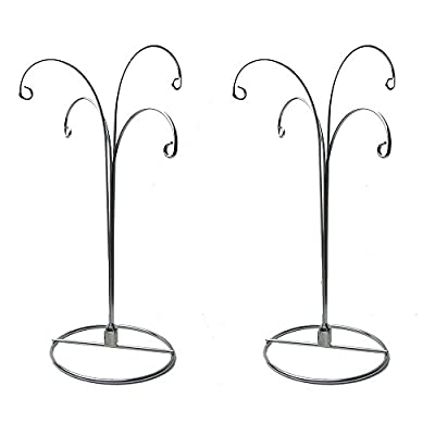 HOHIYA Ornament Display Stand Holder Hook Hanger Glass Ball Christmas 4Arms 12inch(Silver,Pack of 2)