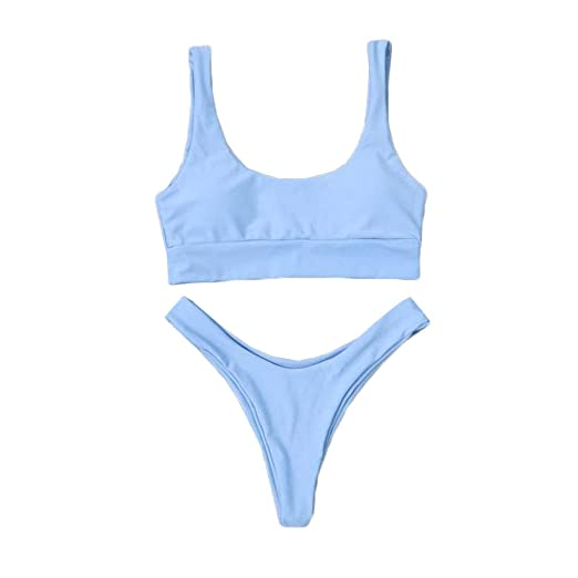 4367cc522d Amazon.com: Benficial Two Pieces Bikini Sets Swimsuit Sports Style Low  Scoop Crop Top High Waisted Thong High Cut Cheeky Bottom Blue: Clothing