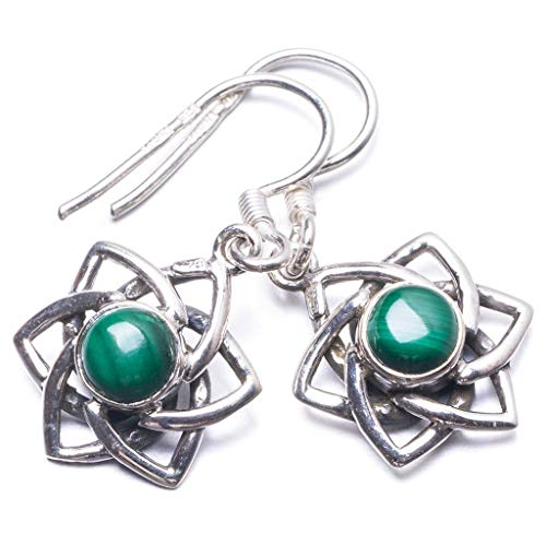 """Natural Malachite Handmade Unique 925 Sterling Silver Earrings 1.25"""" Y3810"""