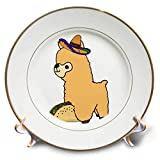 3dRose All Smiles Art Animals - Cute Funny Babay Alpaca eating Taco Cartoon - 8 inch Porcelain Plate (cp_288152_1)