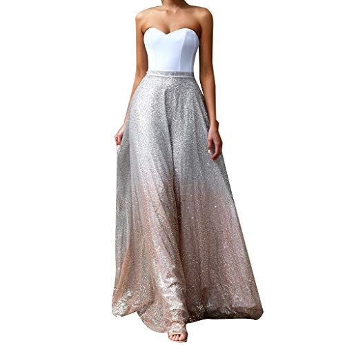 - DMZing Women Fashion Long Dress Sexy Strapless Dress Sequins Bronzing Elegant Gown Event Party Dress Hallmark